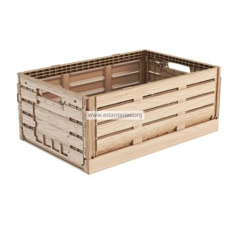 Caja plegable efecto madera