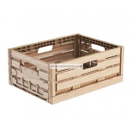 Caja plegable efecto madera 40 x 30 x 16 cms