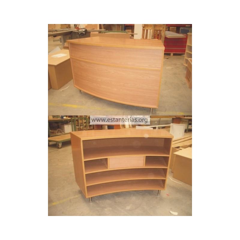 Mostrador curvo madera for Muebles bustos