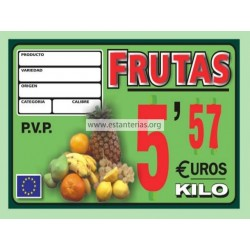Portaprecios fruta